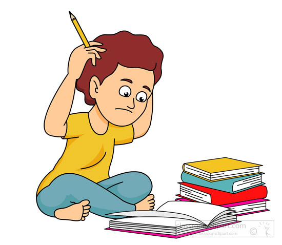 boy confused with lots of homework
